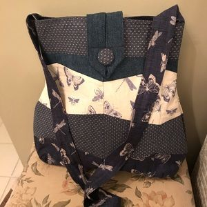 Denim Blue Butterfly Dragonfly Tote